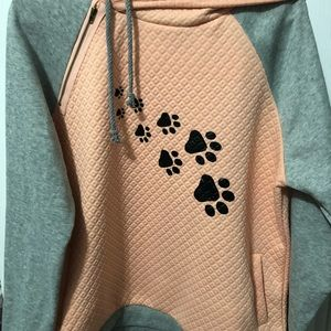 Tops - Xl hoodie pink and gray with 🐾 paw prints new